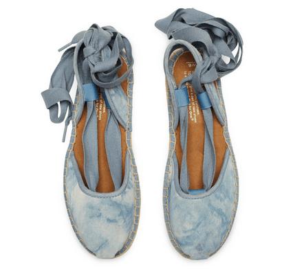 TOMS Skyway Blue Washed Suede Women's Bella Espadrille