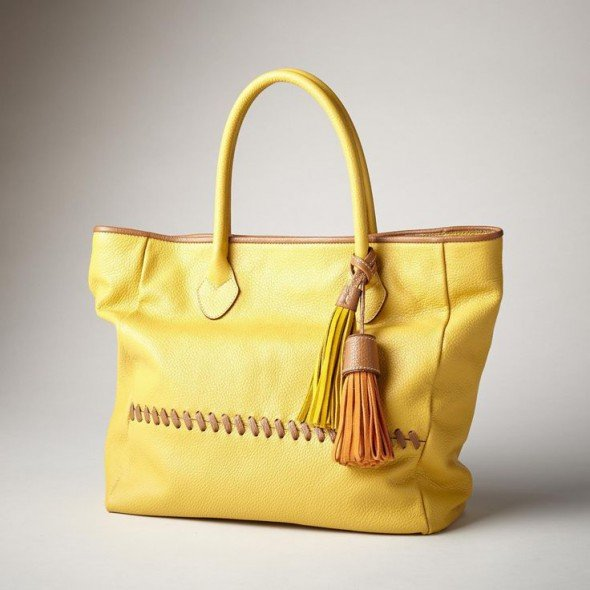 yellow leather tote