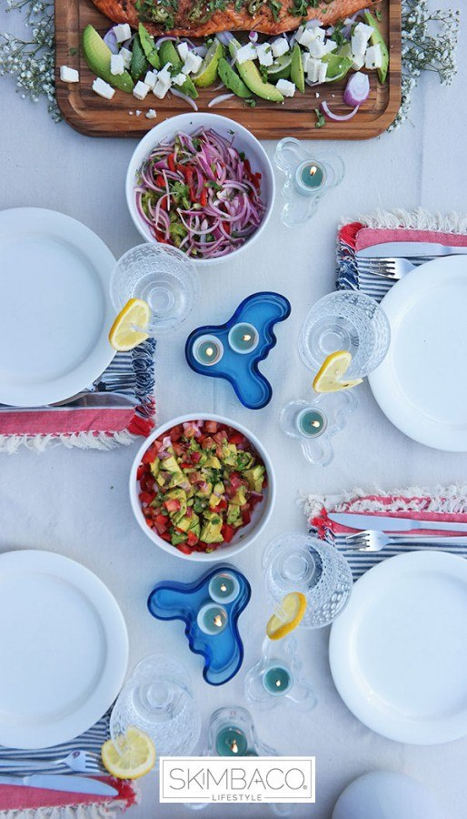 Simple 4th of July BBQ party table setting.