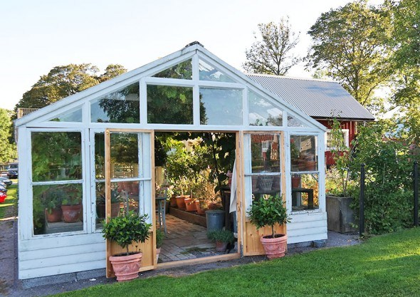 Garden greenhouse in Swedish countryside