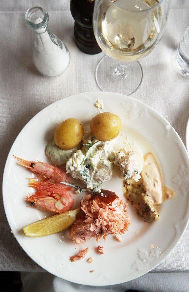Smoked salmon, prawns, part of the Swedish Smörgåsbord | Travel feature by @skimbaco