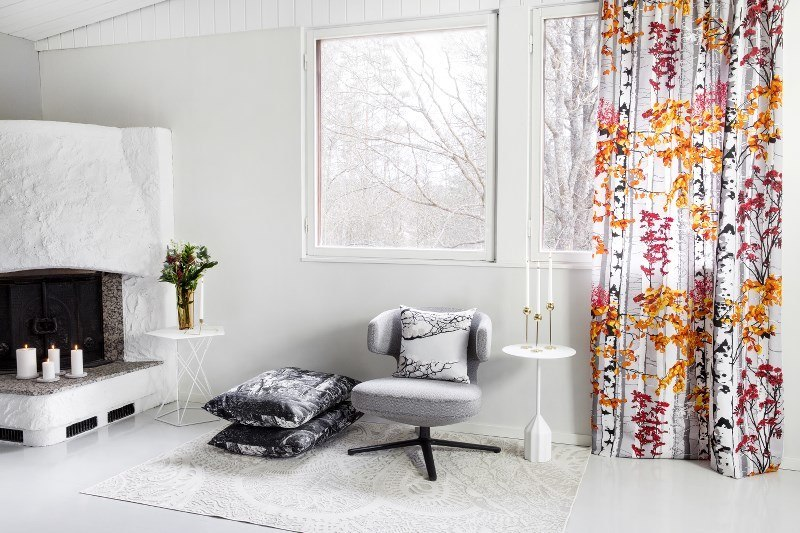 Scandinavian design trend: This fall the minimal black and white design mixes with bold colors in prints that are partially black and white with bold pops of color.