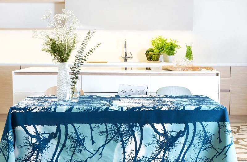 Scandinavian design: Kelohonka aqua tablecloth by Vallila Interior. Photo: Henna Soronen