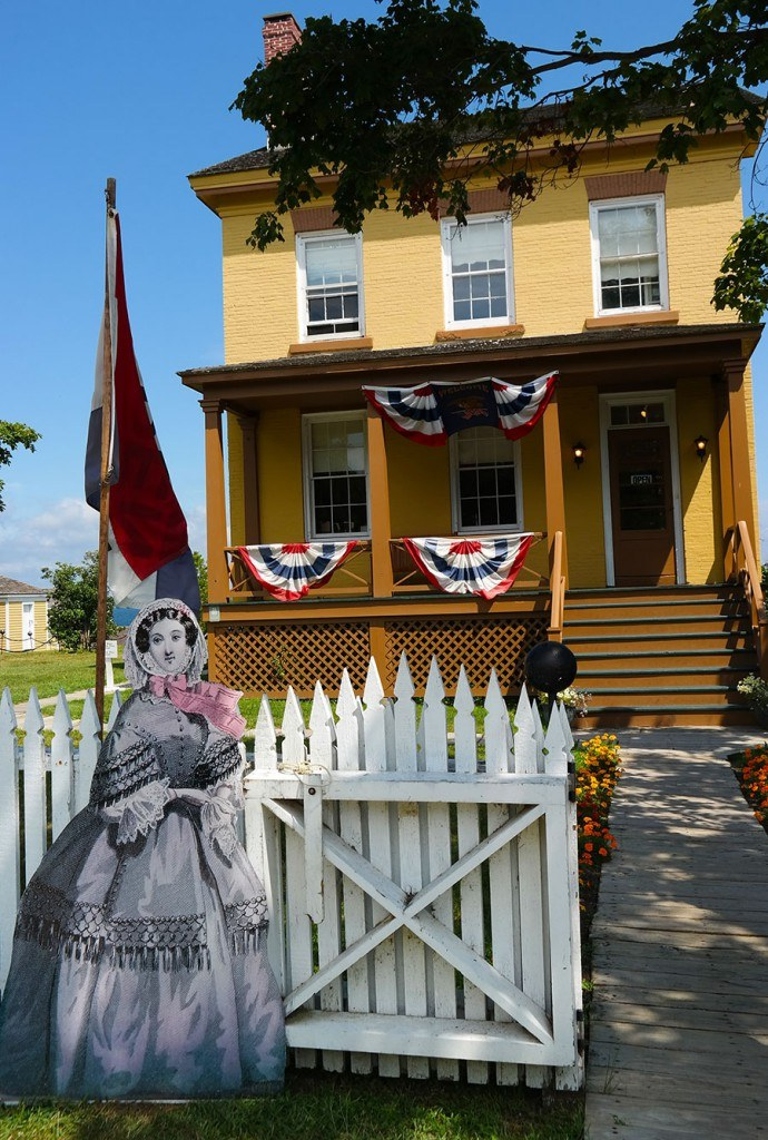 Today the Sackets Harbor Battlefield is interpreted to the public by exhibits, outdoor signs, guided and self-guided tours, and a restored 1850's Navy Yard and Commandant's House. During the summer months, guides dressed in military clothing of 1813 reenact the camp life of the common soldier.