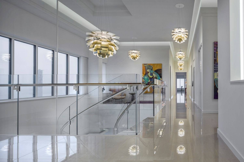 artichoke lamps in a danish penthouse