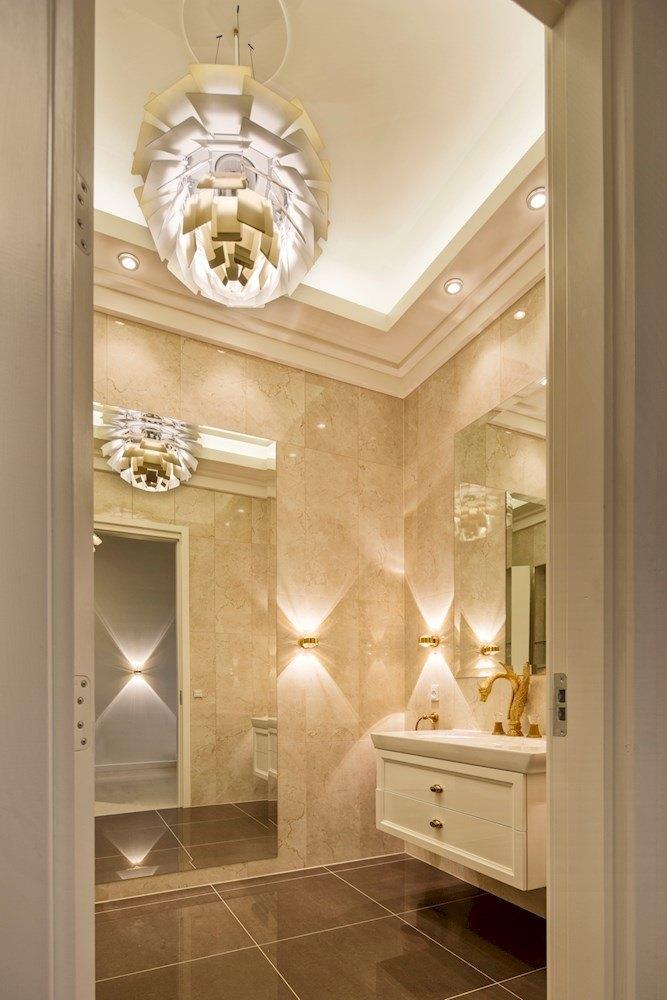 ph-artichoke light fixture in bathroom