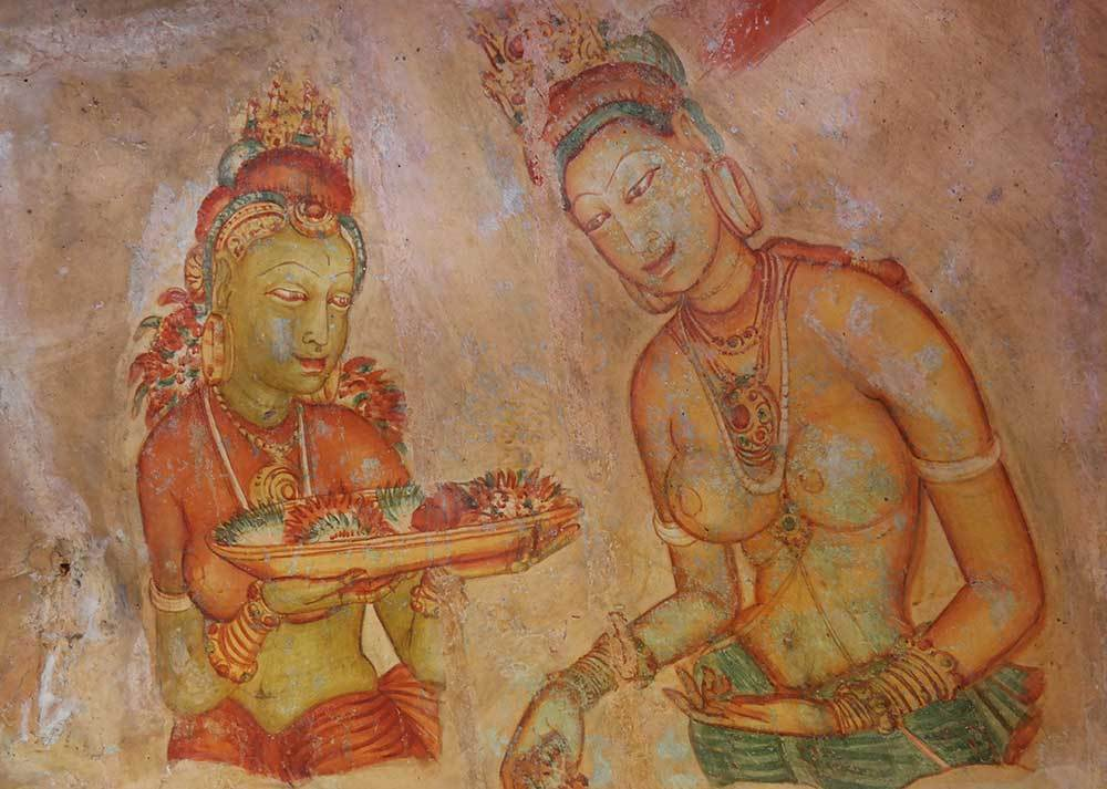Frescoes in Sigiriya Rock, Sri Lanka