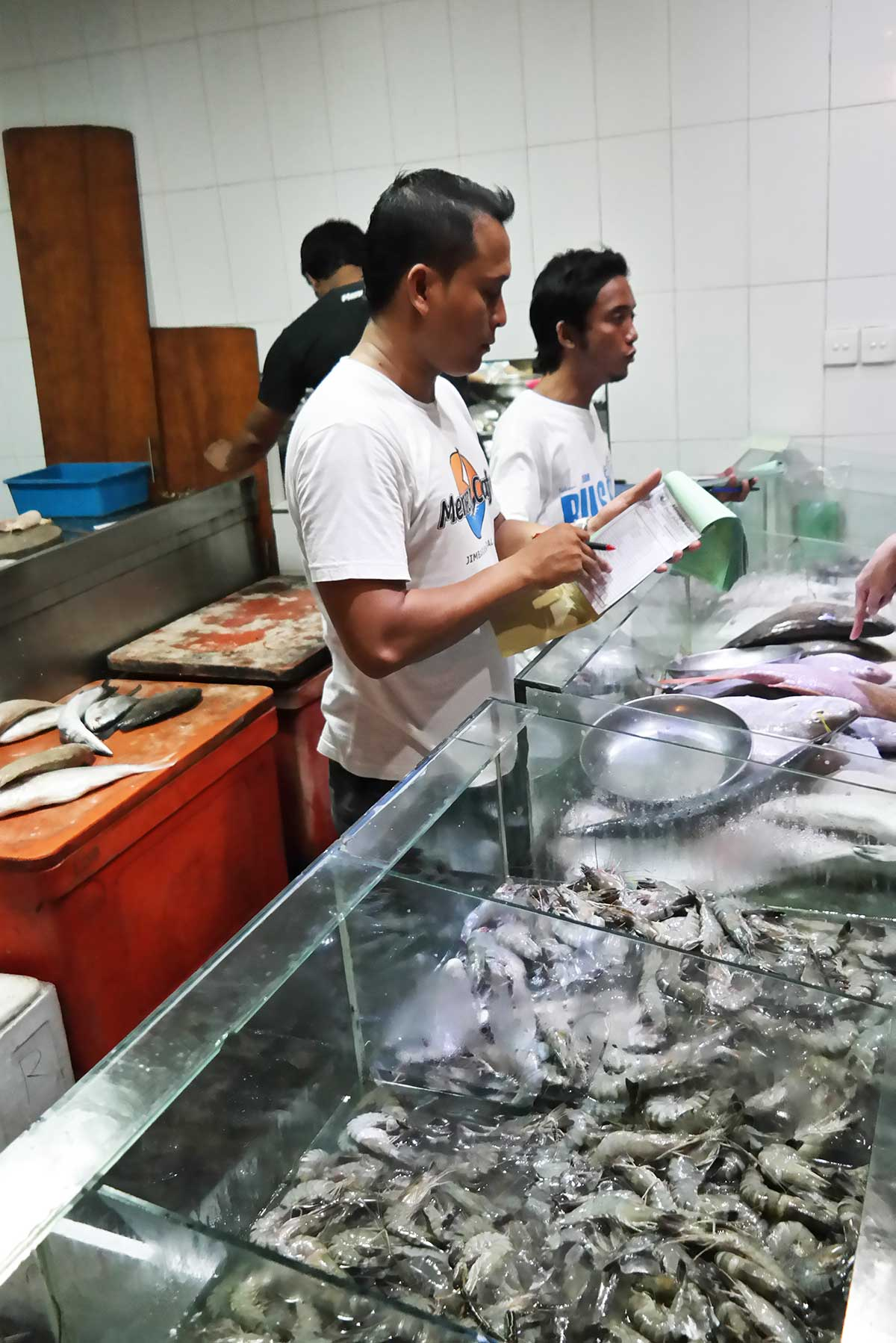 Ordering your seafood dinner in Bali