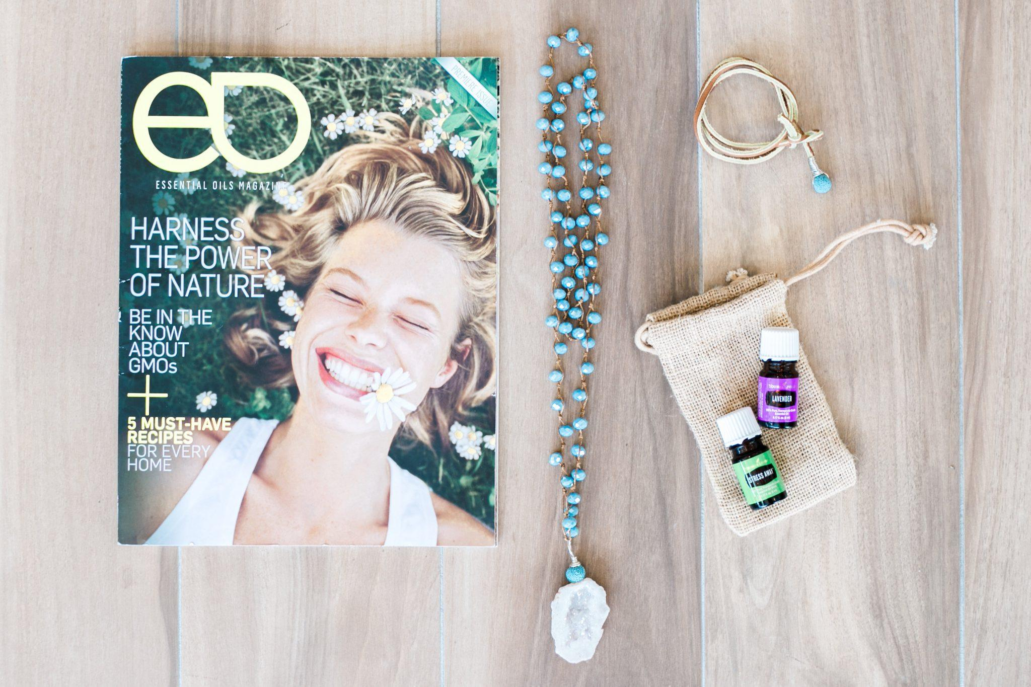 Essential Oils magazine and my favorite oils and diffuser jewelry by @nomadicnewlyweds