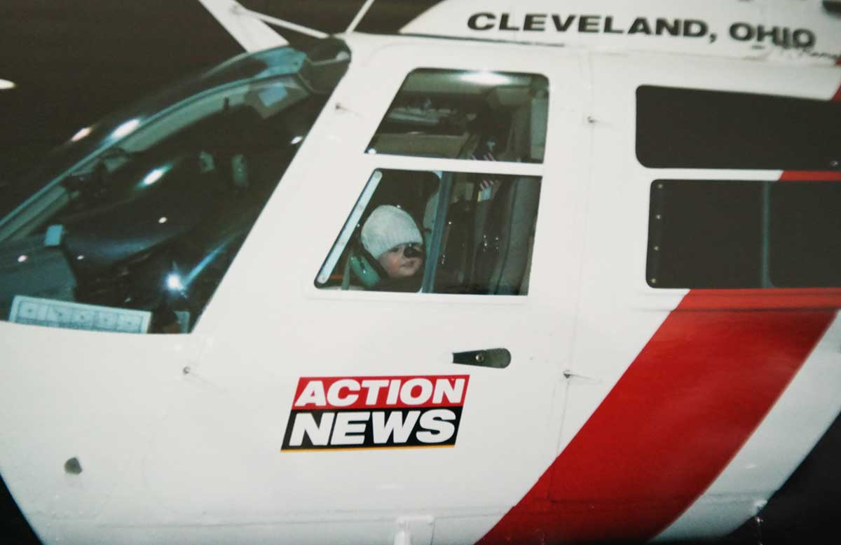 Kris in a chopper in Cleveland