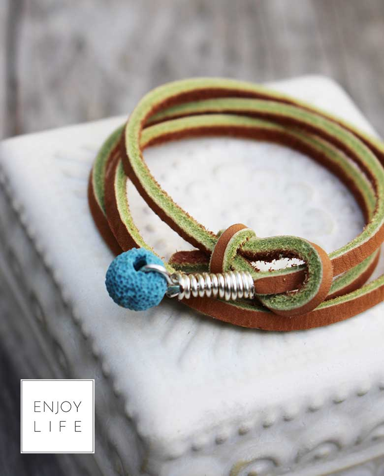 turquoise-Leather-Wrap-Bracelet-choker-lariant-turquoise-with-Lava-Bead---21-inches